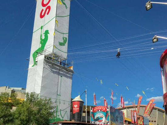 Zip-lining above the Midway @ The Greatest Outdoor Show on Earth