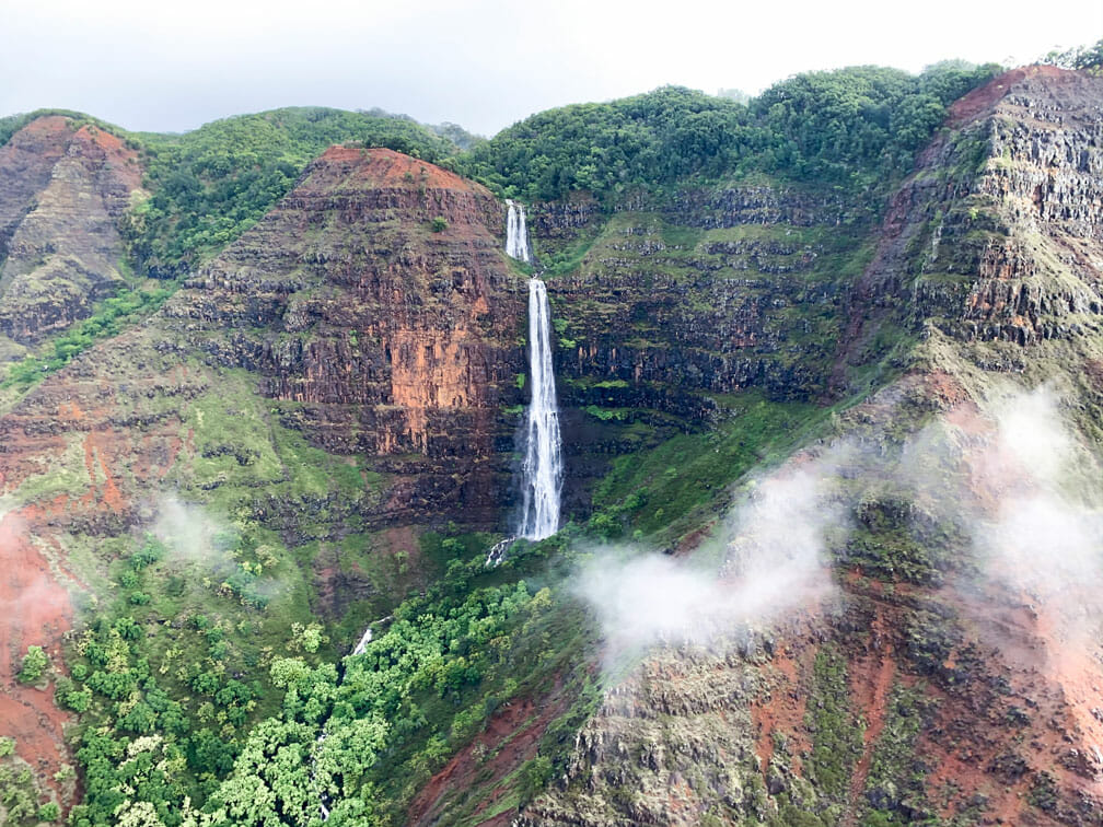 View of Waimea Canyon from helicopter